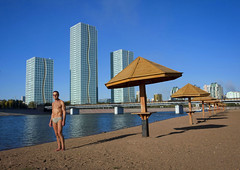 Looking for a place for you next holidays? Beach on Shim river, Astana Kazakhstan (Eric Lafforgue) Tags: people man buildi