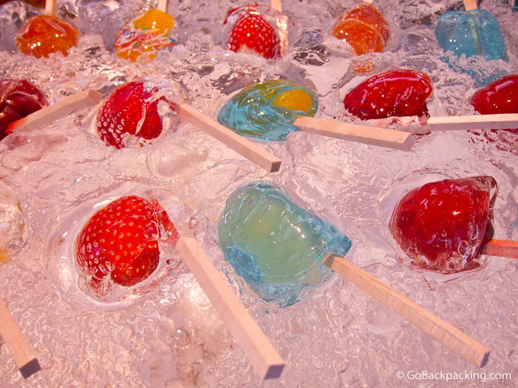 Frozen fruit lollipops