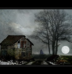 House of Shadows (h.koppdelaney) Tags: life moon art mystery danger barn digital photoshop dark energy symbol spirit sinister magic ghost gothic eerie full spirits hut fairy haunting moment february underworld metaphor uncanny stable symbolism psychology archetype edgarallenpoe eldritch