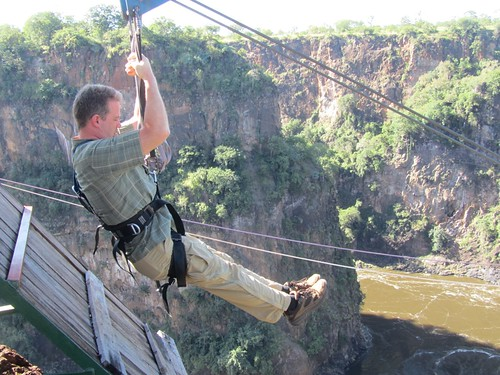 Ziplining into the Zambezi Gorge
