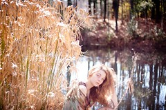 (ashley leazer) Tags: woman sunlight lake nature girl grass fairytale forest hair outdoors pond woods warm bokeh young fairy
