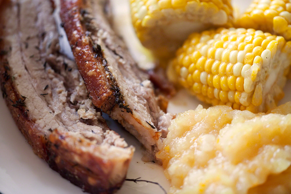 Roasted Pork Belly with Fresh Corn and Apple-Pear Sauce