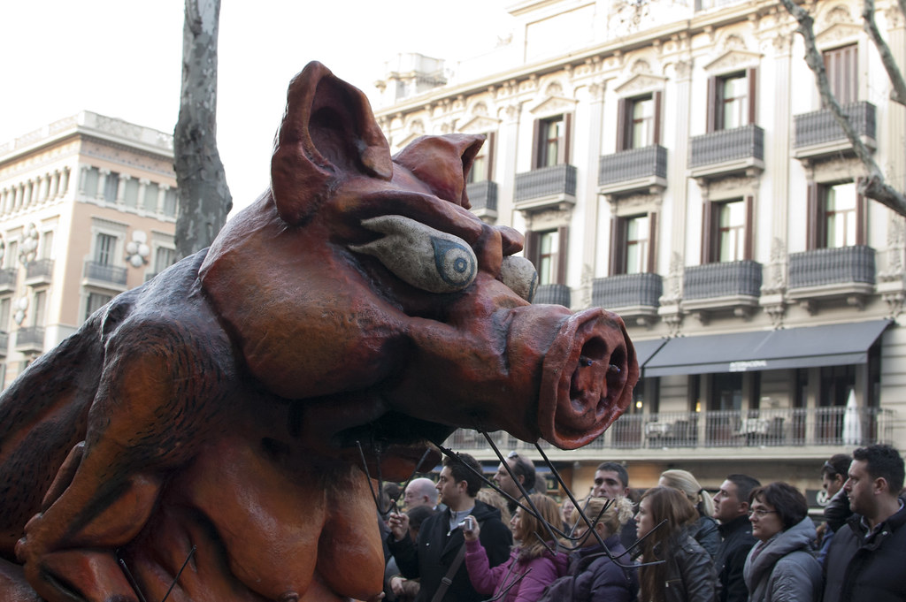 Angry pig. This is from a parade during Santa Eulàlia's 2011 celebrations, Barcelona