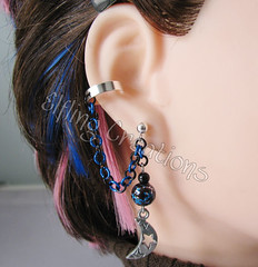 Blue and Black Moon Cartilage Chain Ear Cuff