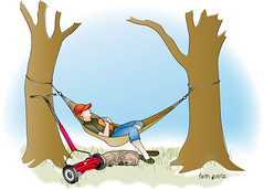 Watching the Grass Grow (faith goble) Tags: trees sleeping dog green art grass hat reading artist photographer kentucky ky faith environmental lazy pollution hammock poet lawnmower writer waste vector bowlinggreen adobeillustrator goble faithgoble gographix faithgobleart