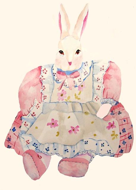 Miss Bunny Surprise Original Watercolor