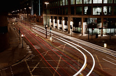 Aldersgate Street (TheFella) Tags: road street city uk longexposure greatbritain light red england urban white black trafficlights slr london cars yellow museum night digital canon buildings dark landscape grid eos lights photo lowlight europe cityscape darkness traffic unitedkingdom streetlights capital bikes junction barbican nighttime photograph processing slowshutter gb lighttrails dslr crossroads footpath cityoflondon urbanlandscape lanes museumoflondon postprocessing 500d yellowbox