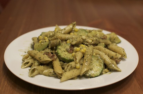 Zucchini and Corn Pasta with Pesto