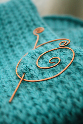 Spiral shawl pin in copper