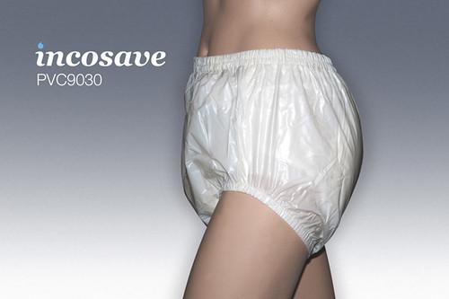 Plastic broek met omzoomd elastiek