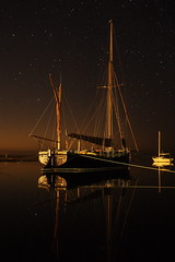 Stars in reflection (trickydicky1964) Tags: sea reflection night boats coast spring high sailing tide north norfolk quay explore nightshots juno blakeney longexposer 2011 morston canon450d canonefs1855mmf3556is trickydicky1964