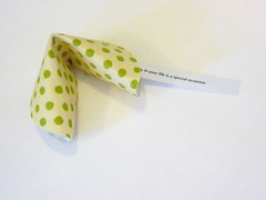 Fabric fortune cookies (Atypical Type A) Tags: wedding party green love make diy pattern quote fortunecookie craft funky retro fabric gift luck howto favor sayings tutorial akimbo favour bonbonniere bombonerie atypicaltypea