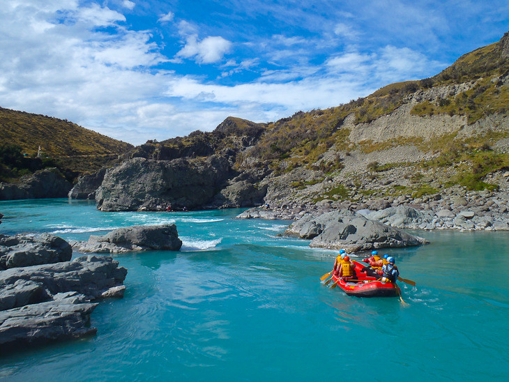 going into class 3 rapids in new zealand