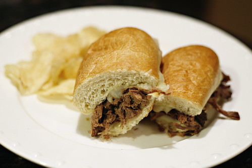 French Dip Sandwich halved