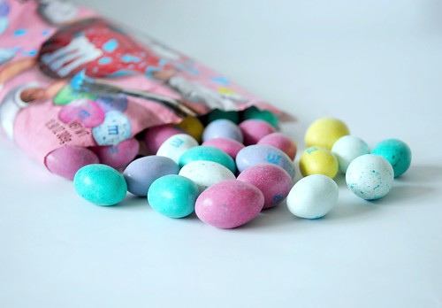 Speckled M&M eggs