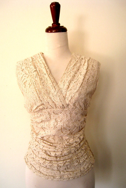 Draped Lace Sleeveless Cream Blouse, vintage 80's