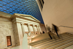 Stepwise Regression (Great Court at British Museum), London (flatworldsedge) Tags: longexposure light london glass stone museum architecture stairs court warm geometry interior great columns steps dome british pillars improvisedtripod yahoo:yourpictures=time2013 yahoo:yourpictures=angles yahoo:yourpictures=motion