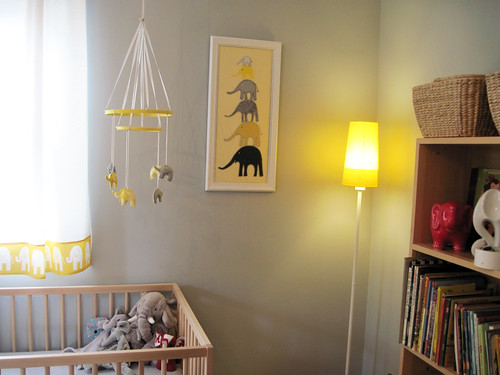 elephant mobile, stacked elephant art from mom and new ikea lamp