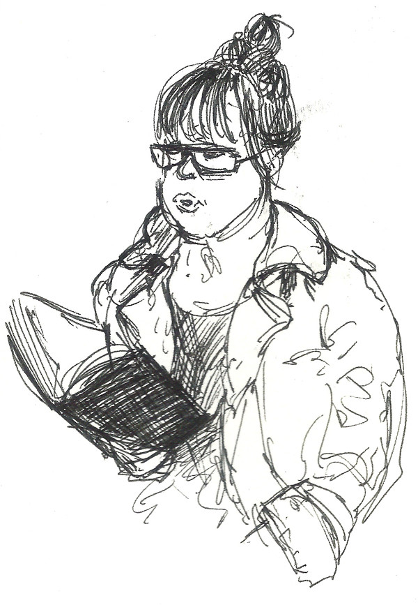 Drawing of a girl reading a book on a train