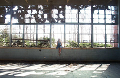 (yyellowbird) Tags: school windows abandoned girl missouri cari gymnasium farmington busiekschool