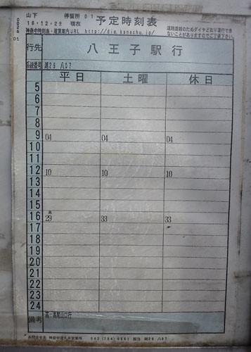 山下バス停発八王子駅行きの時刻表