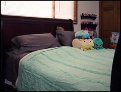 New bedding. (perfectlyflwed) Tags: white bedroom hellokitty urbanoutfitters vinyl pillows plush icecream teddybear kawaii octopus bags blankets tako seafoam bedding tado sleighbed 10inch darkgrey cannibalfunfair hannaritofu tuxedorufflequilt pbteenclassicessentialsheeting