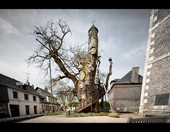 The Oak Chapel (Christophe Kiciak) Tags: old france strange architecture weird oak construction different village shift chapel normandie unusual tilt normandy arbre glise bizarre chapelle croix surprising trange tiltshift improbable chne chene allouvillebellefosse tonnant allouville