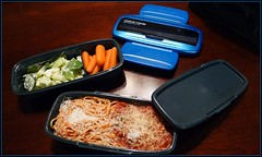 "Metal mode bento box, ""stylish color for men"". Says so right on the cover. (Blackhorse17) Tags: lunch bento spaghetti meatballs metalmode"