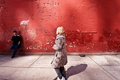 (Bravo213) Tags: nyc newyorkcity red urban woman man wall naked nude child candid bare spy thumbsup juxtaposition cy henri cartierbresson henricartierbresson streetphotograph challengeyouwinner thechallengefactory herowinner pregamewinner metropoliscitylife