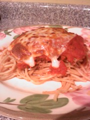 Chicken Parmesan Over Spaghetti
