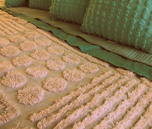Pink and aqua chenille bed