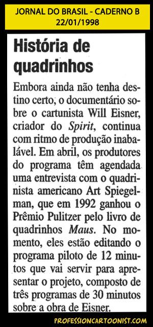 """""""História de quadrinhos"""" - Jornal do Brasil - 22/01/1998"""