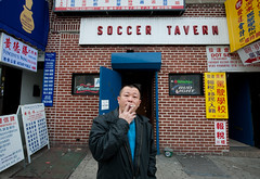 Chen at Soccer Tavern: Sunset Park Brooklyn (Chris Arnade) Tags: newyorkcity brooklyn bar sunsetpark oldbars soccertavern chrisarnade