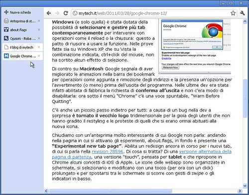Google Chrome 12 dev Windows - selezione tab multipli