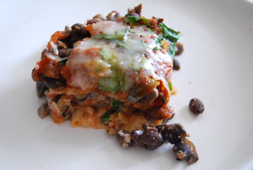 Black Bean and Mushroom Tortilla Casserole