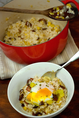 Cheese and Chocolate: Bacon and Leek Risotto with Poached Eggs