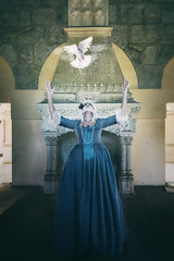 The last breath (RuiFAFerreira) Tags: abandoned aged architecture decay urbex urban urbanexploration exploration portrait people model female baroness baroque beauty palace uwa wide color blue canon conceptual pigeons fineart dress makeup manipulation 60d 1018mm