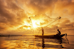 Fisherman (anekphoto) Tags: sunset thailand sunrise bangkok fishing net myanmar peaceful asia job burma tropical river travel province lake poor traditional poverty kayak reflection tradition laos boat tourism water nature fish inle farmer environment man food entrapment paddle fisherman asian outdoor people catching throw silhouette work cloud pitch morning fishermen sky sillouette landscape