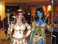 Teela and Draenei Mage (BelleChere) Tags: wow costume comic geek cosplay cartoon worldofwarcraft 80s mage priestess dragoncon heman 2010 mastersoftheuniverse teela draenei