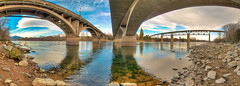 Three Redding Bridges, California (John Bradford Photography) Tags: bridge northerncalifornia river bridges panoramic historic redding hdr sacramentoriver diestelhorstbridge railroadtrestle shastacounty historicbridges lakeredding hdrpanoramic