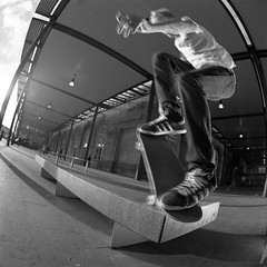 Brent Noseblunt Bonk (RobSalmon) Tags: city two england white black bus film station train 35mm lens diy fuji with shot 10 yorkshire centre ps norton east fisheye bronica dev brent fujifilm 100 hull sq development bonk minutes sqa interchange acros flashes id11 noseblunt