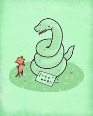Hugs Constricted to one per person (randyotter) Tags: art illustration fun mouse happy design hug snake free card otter randy tee randyotter