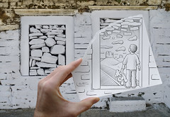 Pencil Vs Camera - 46 (Ben Heine) Tags: voyage trip travel light boy arizona sky urban usa cloud mountain art nature childhood rock wall sunrise photography hope sadness idea sketch route66 poem child hand desert outdoor drawing stones walk pierre surrealism main creative dream poetic creation believe teddybear future littleman innocence layer reality imagination dreamy imaging through behind possible mur better marche hold tristesse imagery stepbystep derrire platon expectation accessible enfance espoir oursenpeluche couche allgorie timeandspace allegoryofthecave road66 croyance benheine mythedelacaverne samsungnx10 pencilvscamera