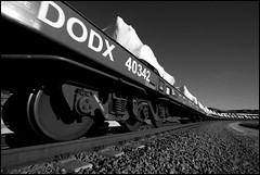 DODX Special (greenthumb_38) Tags: military dodx wrap wrapped equipment cajon cajona train railroad locomotive duotone bw blackwhite blackandwhite 1022mm canonefs1022mmf3545usm canon40d cajonpass jeffreybass