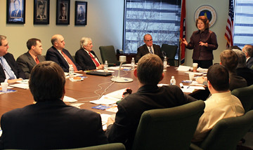 USDA Administrator Judith Canales (standing) addresses those attending a bio-energy roundtable in Nashville