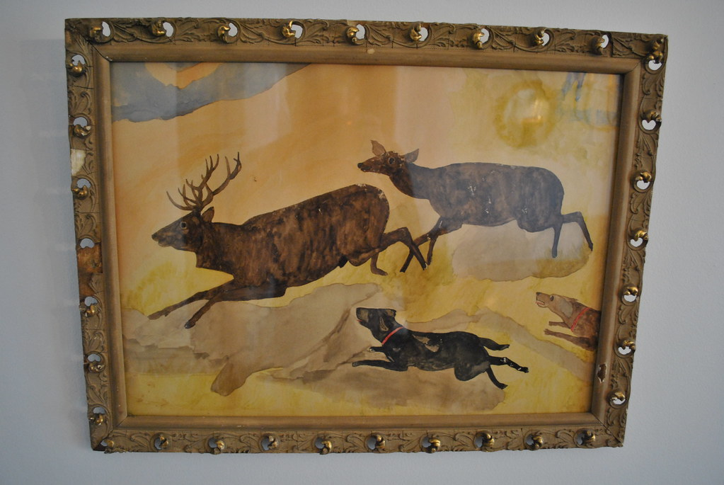 Primitive Hunt Scene Watercolor Painting