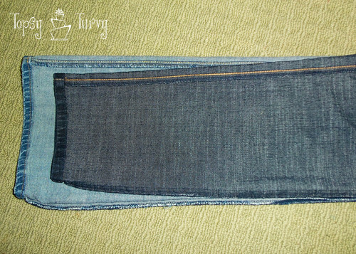 bootcut to skinny jean makeover upcycled trimming
