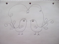 Birdie design on graph paper