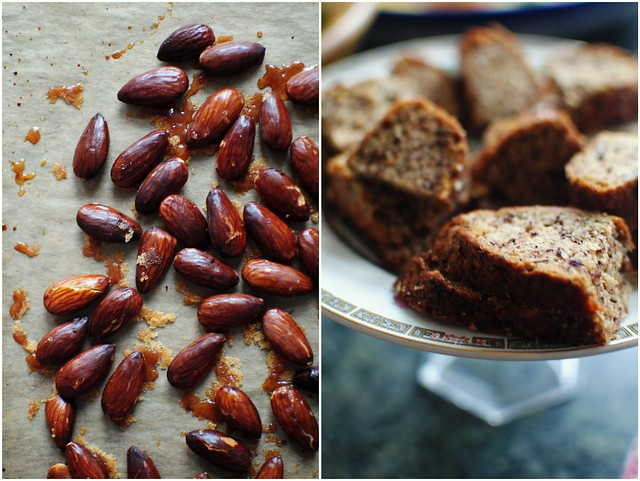 toasted almonds + banana cake