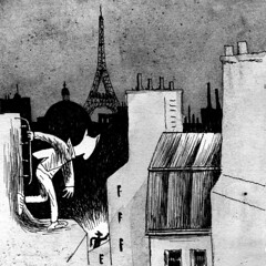 Stolen images 3 (Mister Kha) Tags: city roof shadow urban paris illustration night cat town photo chat image drawing aquarelle belleville picture dessin ombre toit gatto nuit ville robber fantomas lavis voleur voyageur imagecatcher